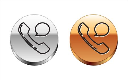 Black line Telephone handset and speech bubble chat icon isolated on white background. Phone sign. Silver-gold circle button. Vector Illustration