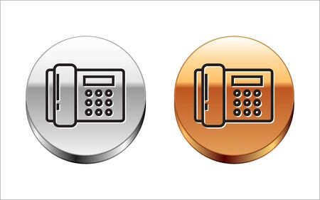 Black line Telephone icon isolated on white background. Landline phone. Silver-gold circle button. Vector Illustration Иллюстрация
