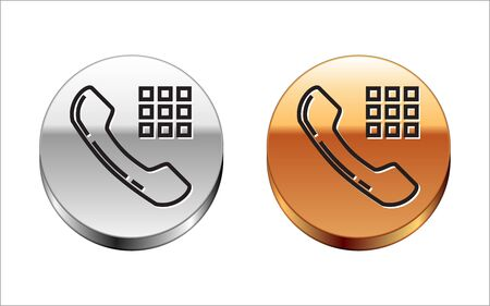 Black line Telephone handset icon isolated on white background. Phone sign. Silver-gold circle button. Vector Illustration