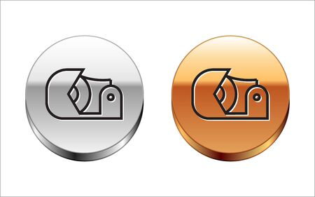 Black line Scotch icon isolated on white background. Roll of adhesive tape for work and repair. Sticky packing tape. Office tool and stuff. Silver-gold circle button. Vector Illustration Ilustracja