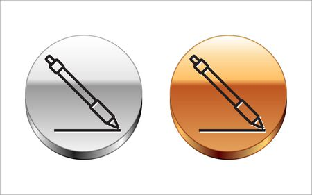 Black line Pen line icon isolated on white background. Silver-gold circle button. Vector Illustration