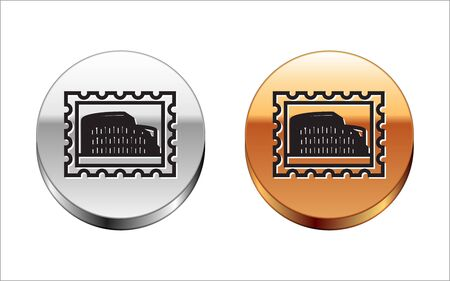 Black line Postal stamp and Coliseum icon isolated on white background. Colosseum sign. Symbol of Ancient Rome, gladiator fights. Silver-gold circle button. Vector Illustration Çizim