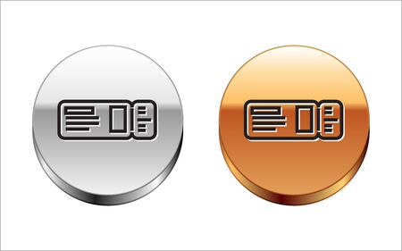 Black line Travel ticket icon isolated on white background. Train, ship, plane, tram, bus transport. Travel service concept. Silver-gold circle button. Vector Illustration