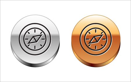 Black line Compass icon isolated on white background. Windrose navigation symbol. Wind rose sign. Silver-gold circle button. Vector Illustration Stock Illustratie