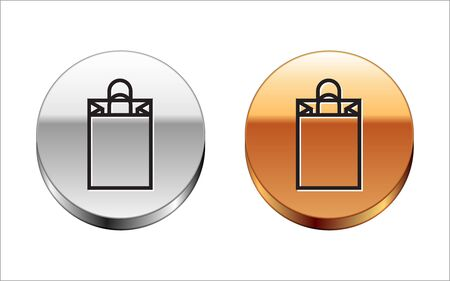 Black line Paper shopping bag icon isolated on white background. Package sign. Silver-gold circle button. Vector Illustration