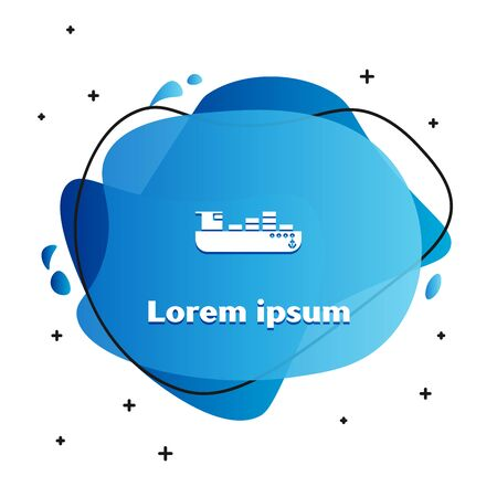 White Cargo ship with boxes delivery service icon isolated on white background. Delivery, transportation. Freighter with parcels, boxes, goods. Abstract banner with liquid shapes. Vector Illustration Banque d'images - 133135250