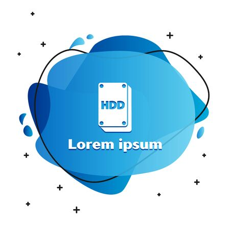 White Hard disk drive HDD icon isolated on white background. Abstract banner with liquid shapes. Vector Illustration