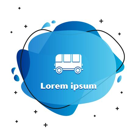 White School Bus icon isolated on white background. Abstract banner with liquid shapes. Vector Illustration