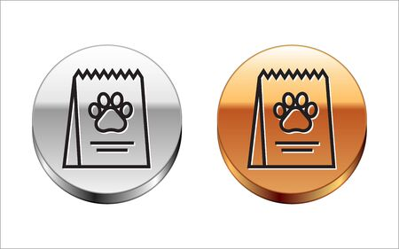 Black line Bag of food for dog icon isolated on white background. Dog or cat paw print. Food for animals. Pet food package. Silver-gold circle button. Vector Illustration