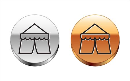 Black line Circus tent icon isolated on white background. Carnival camping tent. Amusement park. Silver-gold circle button. Vector Illustration