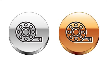 Black line Tape measure icon isolated on white background. Measuring tape. Silver-gold circle button. Vector Illustration Ilustração