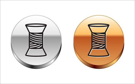 Black line Sewing thread on spool icon isolated on white background. Yarn spool. Thread bobbin. Silver-gold circle button. Vector Illustration
