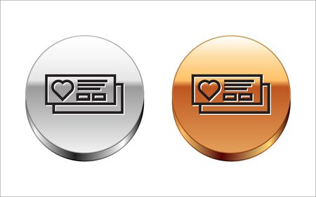 Black line Ticket with heart icon isolated on white background. Boarding pass with heart. Silver-gold circle button. Vector Illustration