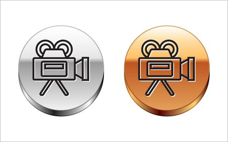 Black line Cinema camera icon isolated on white background. Video camera. Movie sign. Film projector. Silver-gold circle button. Vector Illustration Illustration
