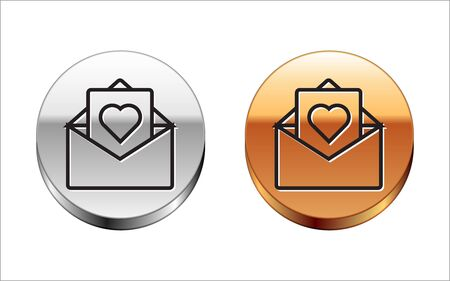 Black line Envelope with Valentine heart icon isolated on white background. Message love. Letter love and romance. Silver-gold circle button. Vector Illustration