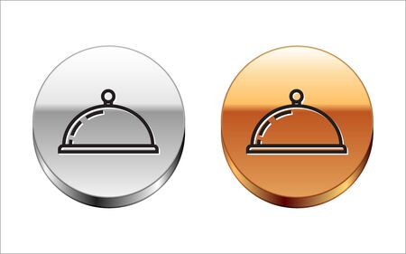 Black line Covered with a tray of food icon isolated on white background. Tray and lid sign. Restaurant cloche with lid. kitchenware symbol. Silver-gold circle button. Vector Illustration