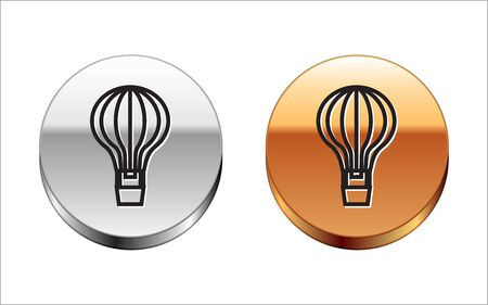 Black line Hot air balloon icon isolated on white background. Air transport for travel. Silver-gold circle button. Vector Illustration Archivio Fotografico - 133148977