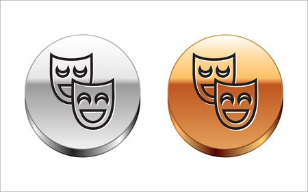 Black line Comedy theatrical masks icon isolated on white background. Silver-gold circle button. Vector Illustration