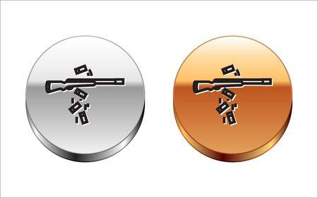 Black line Gun shooting icon isolated on white background. Silver-gold circle button. Vector Illustration Archivio Fotografico - 133149182