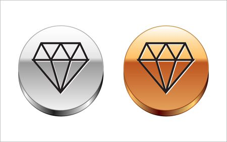 Black line Diamond icon isolated on white background. Jewelry symbol. Gem stone. Silver-gold circle button. Vector Illustration Ilustrace