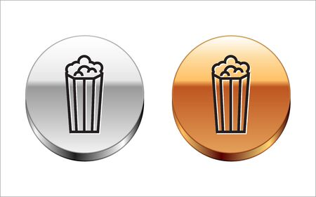 Black line Popcorn in cardboard box icon isolated on white background. Popcorn bucket box. Silver-gold circle button. Vector Illustration