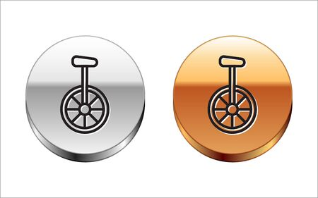 Black line Unicycle or one wheel bicycle icon isolated on white background. Monowheel bicycle. Silver-gold circle button. Vector Illustration
