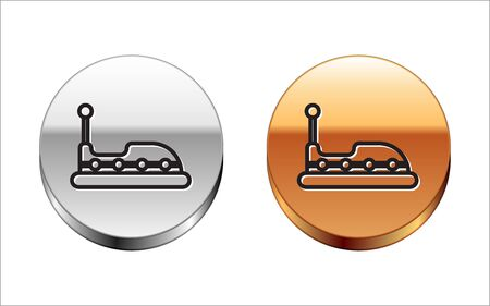 Black line Bumper car icon isolated on white background. Amusement park. Childrens entertainment playground, recreation park. Silver-gold circle button. Vector Illustration
