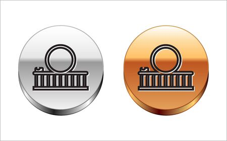 Black line Roller coaster icon isolated on white background. Amusement park. Childrens entertainment playground, recreation park. Silver-gold circle button. Vector Illustration