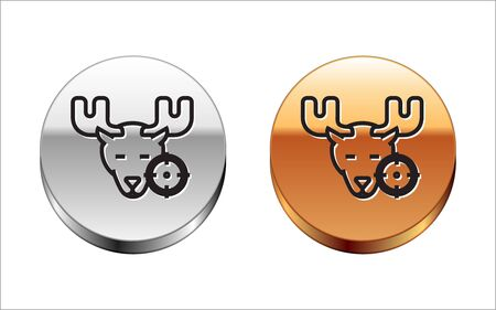 Black line Hunt on moose with cross hairs icon isolated on white background. Hunting club   with moose and target. Rifle lens aiming a moose. Silver-gold circle button. Vector Illustration