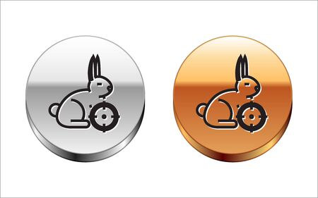 Black line Hunt on rabbit with cross hairs icon isolated on white background. Hunting club   with rabbit and target. Rifle lens aiming a hare. Silver-gold circle button. Vector Illustration Archivio Fotografico - 133149994