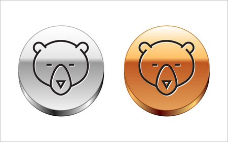 Black line Bear head icon isolated on white background. Silver-gold circle button. Vector Illustration Archivio Fotografico - 133149862