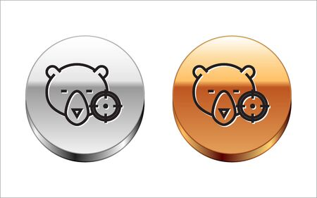 Black line Hunt on bear with crosshairs icon isolated on white background. Hunting club logo with bear and target. Rifle lens aiming a bear. Silver-gold circle button. Vector Illustration Archivio Fotografico - 133149871