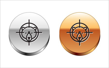 Black line Hunt on bear with crosshairs icon isolated on white background. Hunting club logo with bear and target. Rifle lens aiming a bear. Silver-gold circle button. Vector Illustration Archivio Fotografico - 133150019
