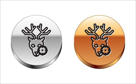 Black line Hunt on deer with cross hairs icon isolated on white background. Hunting club   with deer and target. Rifle lens aiming a deer. Silver-gold circle button. Vector Illustration Archivio Fotografico - 133150054