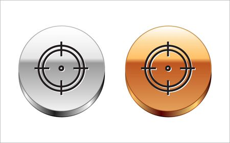 Black line Target sport for shooting competition icon isolated on white background. Clean target with numbers for shooting range or shooting. Silver-gold circle button. Vector Illustration Archivio Fotografico - 133150056