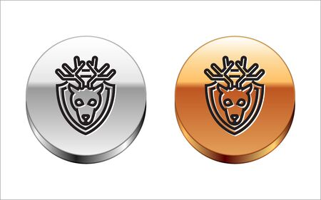 Black line Deer head with antlers on shield icon isolated on white background. Hunting trophy on wall. Silver-gold circle button. Vector Illustration