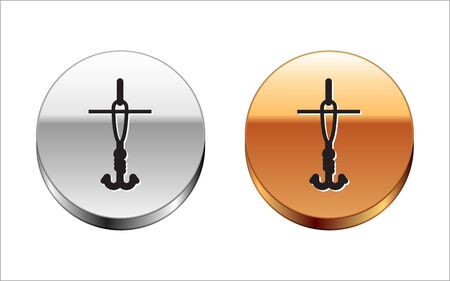 Black line Fishing hook and float icon isolated on white background. Fishing tackle. Silver-gold circle button. Vector Illustration  イラスト・ベクター素材