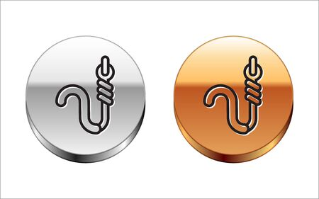 Black line Fishing hook and worm icon isolated on white background. Fishing tackle. Silver-gold circle button. Vector Illustration