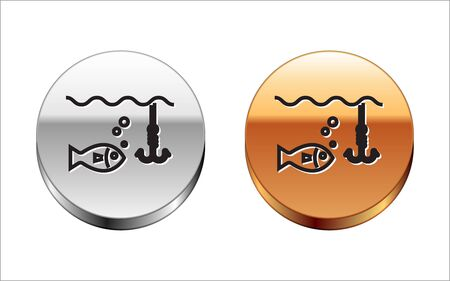 Black line Fishing hook under water with fish icon isolated on white background. Fishing tackle. Silver-gold circle button. Vector Illustration  イラスト・ベクター素材
