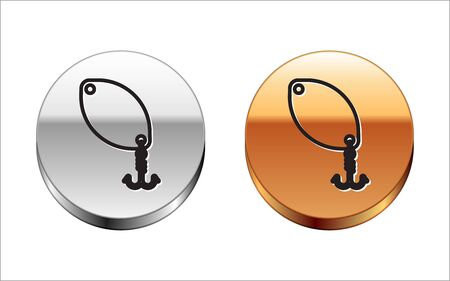 Black line Fishing spoon icon isolated on white background. Fishing baits in shape of fish. Fishing tackle. Silver-gold circle button. Vector Illustration