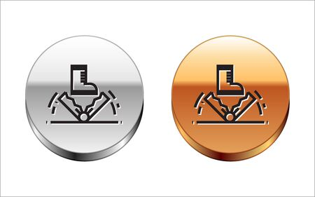 Black line Trap hunting icon isolated on white background. Silver-gold circle button. Vector Illustration  イラスト・ベクター素材