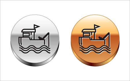 Black line Fishing boat with fishing rod on water icon isolated on white background. Silver-gold circle button. Vector Illustration