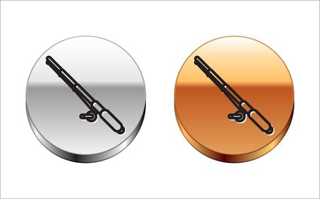 Black line Fishing rod icon isolated on white background. Fishing equipment and fish farming topics. Silver-gold circle button. Vector Illustration  イラスト・ベクター素材