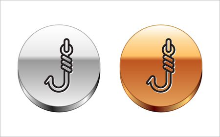 Black line Fishing hook icon isolated on white background. Fishing tackle. Silver-gold circle button. Vector Illustration  イラスト・ベクター素材