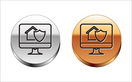 Black line Computer monitor with house under protection icon isolated on white background. Protection, safety, security, protect, defense concept. Silver-gold circle button. Vector Illustration Illustration