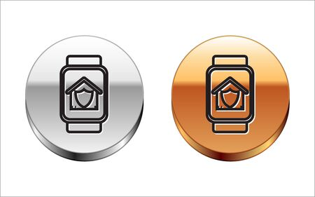 Black line Smart watch with house under protection icon isolated on white background. Protection, safety, security, protect, defense concept. Silver-gold circle button. Vector Illustration