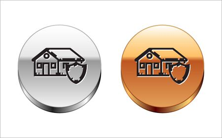 Black line House under protection icon isolated on white background. Protection, safety, security, protect, defense concept. Silver-gold circle button. Vector Illustration Illustration