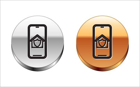 Black line Mobile phone with house under protection icon isolated on white background. Protection, safety, security, protect, defense concept. Silver-gold circle button. Vector Illustration