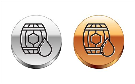 Black line Wooden barrel with honey icon isolated on white background. Silver-gold circle button. Vector Illustration  イラスト・ベクター素材