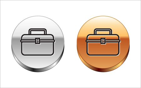Black line Case or box container for wobbler and gear fishing equipment icon isolated on white background. Fishing tackle. Silver-gold circle button. Vector Illustration